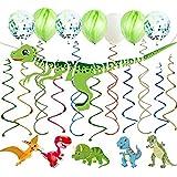 30カラット 恐竜 吊り下げ 渦巻きデコレーション 恐竜 Happy Birthdayバナー 15個の風船付き 恐竜 ジュラシック T-REX テーマ 誕生日 ベビーシャワー パーティー用品