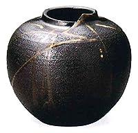 信楽焼 灰釉流し丸花瓶・7号(全高19cm×全幅21.5cm)