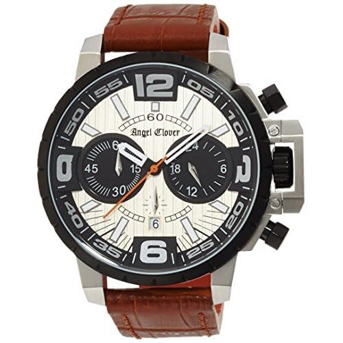 [エンジェルクローバー]Angel Clover 腕時計 タイムクラフト アイボリー文字盤 ステンレス(BKPVD)ケース クロノグラフ NTC48BSB-LB メンズ