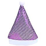 whitelotousスパンコールサンタクリスマス帽子クリスマスギフト面白いパーティーSupplies パープル 162451.06