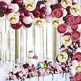 ワインレッドバルーン ピンク 90個 パステル ゴールド ミックス 混合バルー 誕生日 結婚式 ウェディング 紙吹雪バルーン アーチガーランド 結びツール