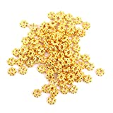 【ノーブランド品】ハンドメイド アクセサリー用 合金製 スペーサー ビーズ 花型 5mm (ゴールド) 100個