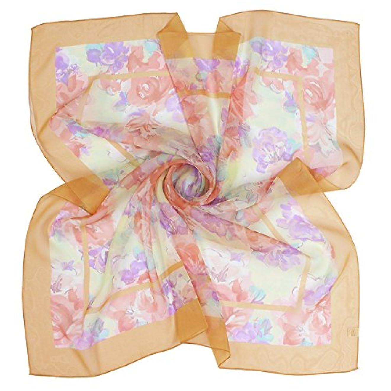 切り下げディスコスリンク(グランクレエ) Grancreer 日本製 シルク100% スカーフ (I-花柄シリーズ) [MADE IN JAPAN]