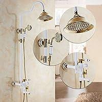 Zhuyuanhai シャワーヘッドキットバスルームハンドヘルド節水シャワーシャワーキット銅ホワイトゴールド浴室レインシャワースプレーシャワータップ滝シャワーのみ (Color : H)