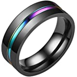 Bigood Couple Men Colorful Stainless Steel Promise Ring Spinner Bands Engagement Jewelry