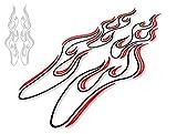 カッティングステッカー ピンストライプ風フレイムC 黒×赤