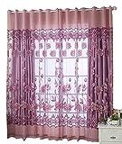 FUT(エフュ ト) 欧米人気おしゃれレースカーテン UVカット遮光断熱ロングカーテン 美しい花柄目隠し効果シェードカーテン紗 100*250cm1組1枚セット