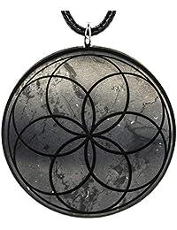 Wallystone Gems Energy Shungite Pendants with Engraved Sacred Geometry