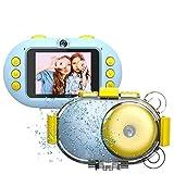 子供用カメラAPES進化版トイカメラ 前後1600万画素 HD1080Pビデオ録画35MまでIP68完全防水 2.4インチモニター WiFi共有 ミニ トイカメラ 16GB SDカード付き キッズカメラ (ライトブルー)