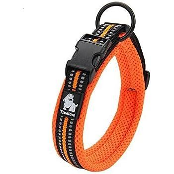 cocomall 犬首輪 犬の首輪 犬用訓練首輪 小型、中型、大型犬用首輪 ペット用品  3M反射材料  ナイロン製  通気性  弾力性 ソフト 調節可能   ハーネス リード (XS, オレンジ)