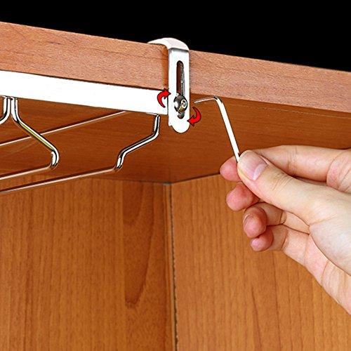 ワイングラス ホルダー ハンガー 穴あけ不要 棚厚さ調節可能 ワインホルダー 吊り下げ ステンレス製 2列 奥行27.5cm