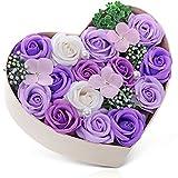 父の日 バラ型ソープフラワー ハートフラワー形状ギフトボックス 母の日 誕生日 記念日 先生の日 バレンタインデー 昇進 転居など最適としてのプレゼント