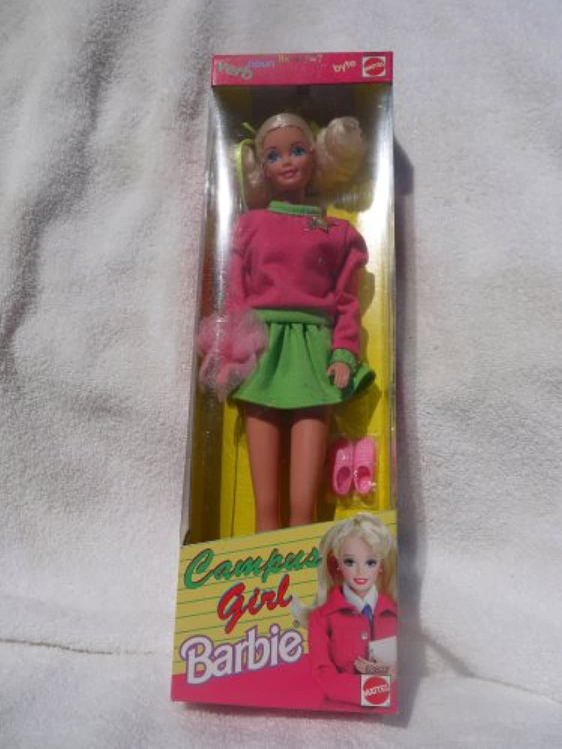 Philippine Campus Girl Barbie in Pink Jersey Top with Bright Green Trim and Short, Full Green Jersey Skirt (1998) - RARE
