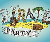 Pirate Summer Party Backdrop Pirates要素Word onブルー背景子供誕生日写真壁紙画像10x 8ft