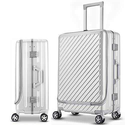 Langxj hj スーツケース キャリーバッグ 二重ファスナー式 容量拡張 アルミニウム合金デザイン 360°キャスター 機内持込可 厚くする 耐摩耗 TSAロック搭載 6022 (S, ワイト)