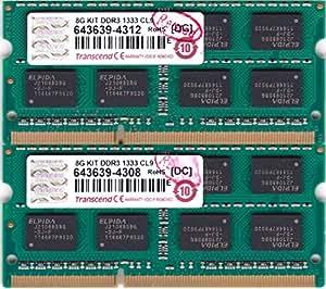 Transcend ノートPC用メモリ PC3-10600 DDR3 1333 8GB 1.5V 204pin SO-DIMM Kit (4GB×2) (無期限保証) JM1333KSN-8GK