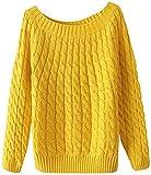 【ノーブランド】レディース トップス 長袖 ラウンドネック ざっくり ケーブル編み ニット セーター (黄色)
