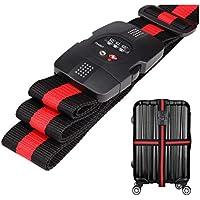 WindTookスーツケースベルト ダイヤル式 TSAロック付き 荷物梱包バンド 十字型 長さ調整 旅行 海外旅行 出張用 赤×黒のストライプ