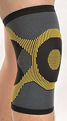 (LARGE) - Adjustable Elasticated Compression Knee Support Sleeve - Knee Pain and Injuries - Patella Support for Stiff or Achy Knee - Support for Arthritis, Bursitis & Patellar Tendonitis- Mild Knee Pain Brace by Solace Care - For Men & Women (LARGE)