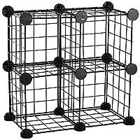 PrimeMatik - モジュール式棚クローゼット収納4メタルキューブ17x17cmブラック