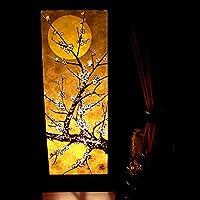 Moon Sakura Cherry Blossom Brown Handmade Asian Oriental Wood Table Paper Gift Bedside Night Light Bulbs Bedroom Accessories Home Decor Living Room Bedside Homemade Art Garden Outdoor Floor Japanese Modern Vintage Christmas Desk Lamp