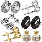 SKS Jewelry 6 Pairs Stainless Steel Earrings for Men Women| Premium set of Cubic Zirconia Stud Earrings| Hoop earrings | 18k