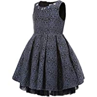 Flowers Decoration Floral Gorgeous Jacquard Princess Party Tutu Dress for Kids 3 4 5 6 8 10 Years Old