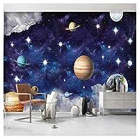 漫画宇宙星惑星 - カスタム写真の壁紙3D子供の寝室の背景壁紙3D壁画用3D壁画250cm(W)x175cm(H)