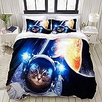 LUBATAGA 布団カバー シングル 3 点セット,宇宙飛行士の猫が地球上に浮かんでいます。星は背景を提供します, ベッド用 掛け布団 + 枕 カバー 洋式 和式兼用 シングル