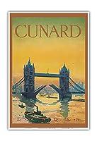 タワーブリッジ、イングランド - Cunardライン - T.S.S. トゥスカニア の乗客リストの表紙 ト - ビンテージな遠洋定期船のポスター c.1926 - アートポスター - 33cm x 48cm