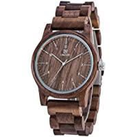 Watches Men,UWOOD Japan Analog Quartz Wood Watch,Natural Wood Wristwatch Men