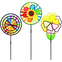 Pinwheel 3 Pack Made of Durable 100% Weatherproof Nylon and Fibreglass UV Resistant Won't Stain Rainbow Coloured spinner for Gardens dance in the slightest of breezes.