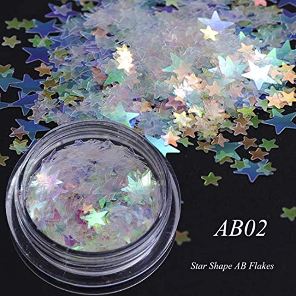 ビューティー&パーソナルケア 3個のカメレオンカラースパンコールネイルアートグリッターフレークUVジェル装飾ツール(AB01) ステッカー&デカール (色 : AB02)