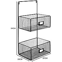 ウォールシェルフ 北欧のミニマリスト錬鉄製の黒い壁の収納棚のバスルームキッチンの壁の収納バスケット。 (サイズ さいず : 2層)