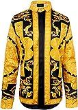 (ピゾフ)Pizoff メンズ シャツ 襟付 長袖 春秋 金色花柄 上品 おしゃれ ファッション カッコいい 豪華 派手 ヒップホップ ストリート系 原宿系 お兄系 普段着 Tシャツ トップス Y1706-26-L
