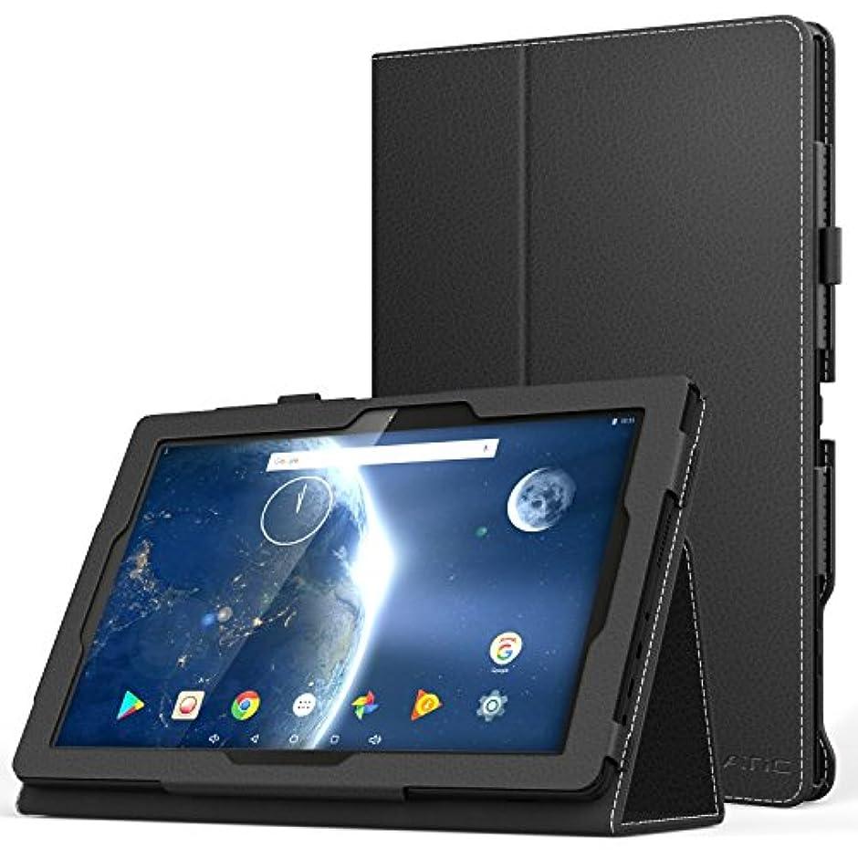 モトリーひそかにブラウンATiC Dragon Touch X10 2018 advanced 10.1 インチ タブレット用全面保護型 薄型スタンドケース Dragon Touch X10 2017にも対応 BLACK