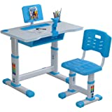Kids Desk and Chair Set Children Desk, Adjustable Height Childr Study Desk Chair and Table Set, with Bookstand and Drawer, Er