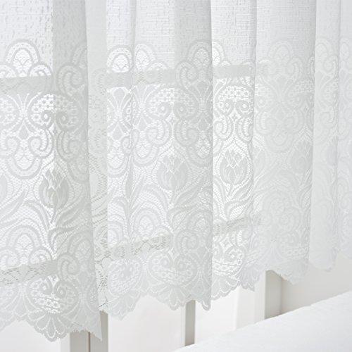 ユイツ フラワーミラーレースカーテン 小窓用 出窓用スタイルカーテン ホワイト 1枚 幅200cmx丈90cm