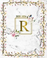2020-2024: Cute Marble & Gold 5 Year Monthly Planner, Agenda & Organizer - Initial Monogram Letter R Five-Year (60 Months Spread View) Girly Floral Calendar, Diary & Business Schedule Notebook.