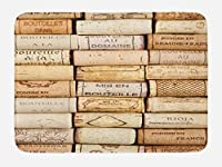 Winery Bath Mat by Lunarable, Different Wine Corks Arranged in a Line Collections French Aged Fine Wine Art, Plush Bathroom Decor Mat with Non Slip Backing, 29.5 W X 17.5 W Inches, Ivory Pale Brown [並行輸入品]