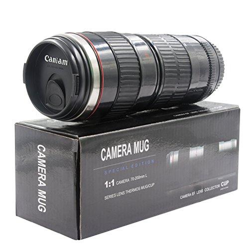 レンズ型 マグ 70-200ミリ カメラレンズ型水筒 カメラレンズみたいなカップ 旅行用 コーヒーカップ(黒い)