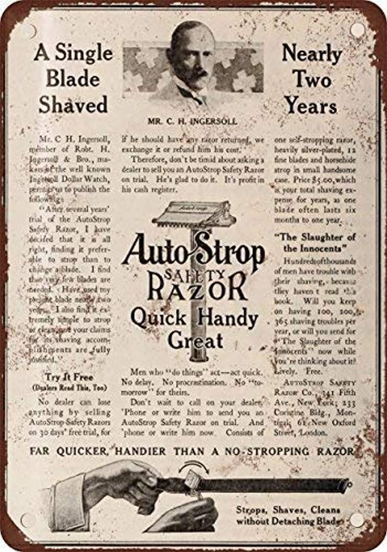重なる礼拝スナップShimaier 壁の装飾 ブリキ 看板メタルサイン 1910 AutoStrop Safety Razor ウォールアート バー カフェ 30×40cm ヴィンテージ風 メタルプレート