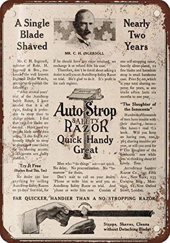 害認めるカートンShimaier 壁の装飾 ブリキ 看板メタルサイン 1910 AutoStrop Safety Razor ウォールアート バー カフェ 30×40cm ヴィンテージ風 メタルプレート