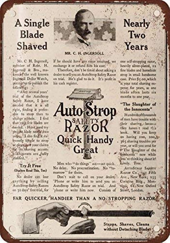 生産的左柔らかいShimaier 壁の装飾 ブリキ 看板メタルサイン 1910 AutoStrop Safety Razor ウォールアート バー カフェ 30×40cm ヴィンテージ風 メタルプレート