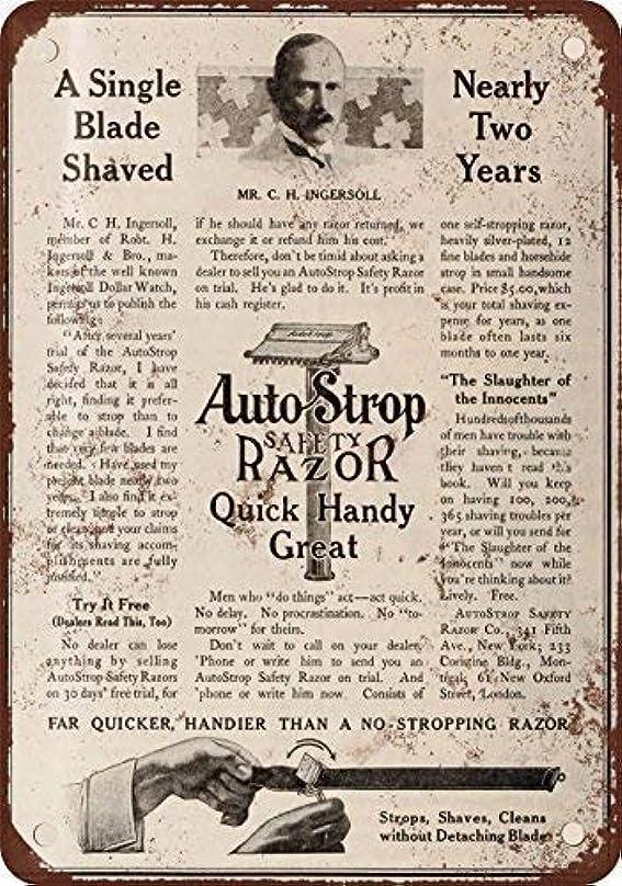 ミットアセンブリラリーベルモントShimaier 壁の装飾 ブリキ 看板メタルサイン 1910 AutoStrop Safety Razor ウォールアート バー カフェ 30×40cm ヴィンテージ風 メタルプレート