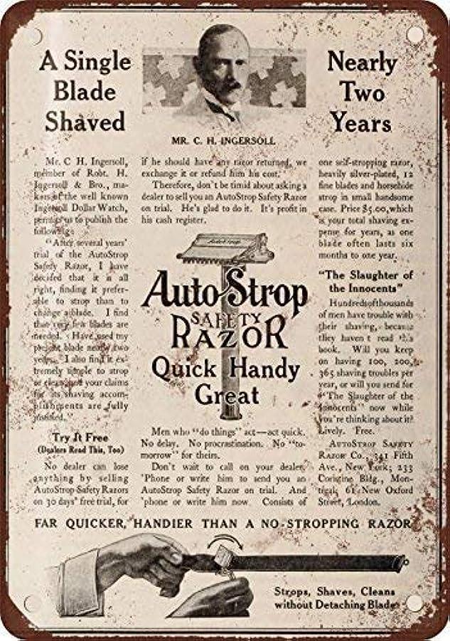 大工受信機拮抗するShimaier 壁の装飾 ブリキ 看板メタルサイン 1910 AutoStrop Safety Razor ウォールアート バー カフェ 30×40cm ヴィンテージ風 メタルプレート