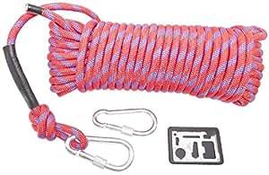 cmy select 10.5mm クライミングロープ 20m カラビナ 2個 & 万能ツール セット (先端 黒) 赤ロープ