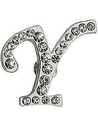 Pinmart 'sシルバーメッキラインストーンアルファベット文字Yラペルピン 10 シルバー