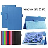 Lenovo tab2 ケース softbank 501LV カバー 3点セット 保護フィルム タッチペン ブルー