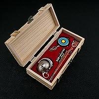 mankecheng木製ボックス3点セットゲームEatチキンメタルヘルメットパン98K AWMガンライフルモデルアクションフィギュアArtsおもちゃコレクションキーチェーンギフト
